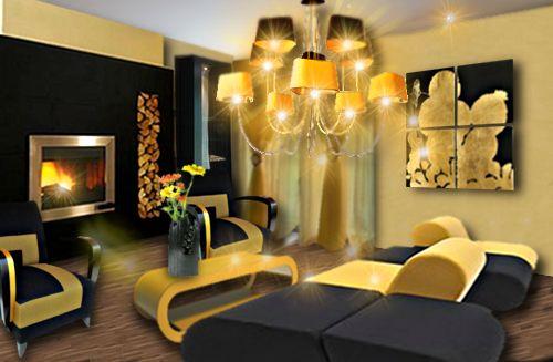 Décoration d'un salon dans une ambiance chic jaune et noire par Floriane Lemarié