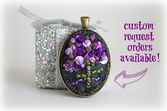 Custom Request Item. Hand Stitched Embroidered Wildflower Bouquet Felt Pendant Necklace. Embroidered Jewelry. Gifts for Her. on Etsy, $25.00