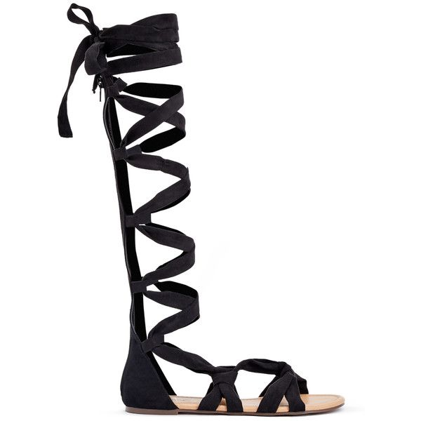ShoeDazzle Flat Sandals Desislava Womens Black ❤ liked on Polyvore featuring shoes, sandals, black, flat sandals, black gladiator sandals, black sandals, wrap sandals, lace-up sandals and black shoes