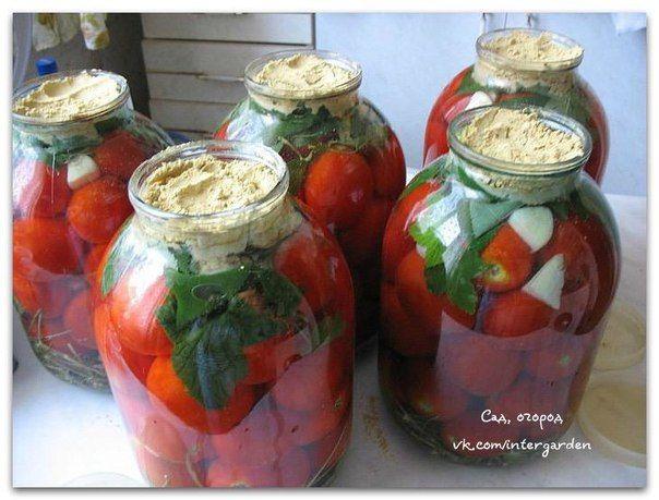 В чистые сухие банки уложить:- венчики укропа (5-6 или 1 ст.л. семян),- листья черной смородины (3-4 шт),- чеснок (1-2 зубчика),- корень хрена,- 1/2 красного острого перца,- помидоры (до верха, до гор…