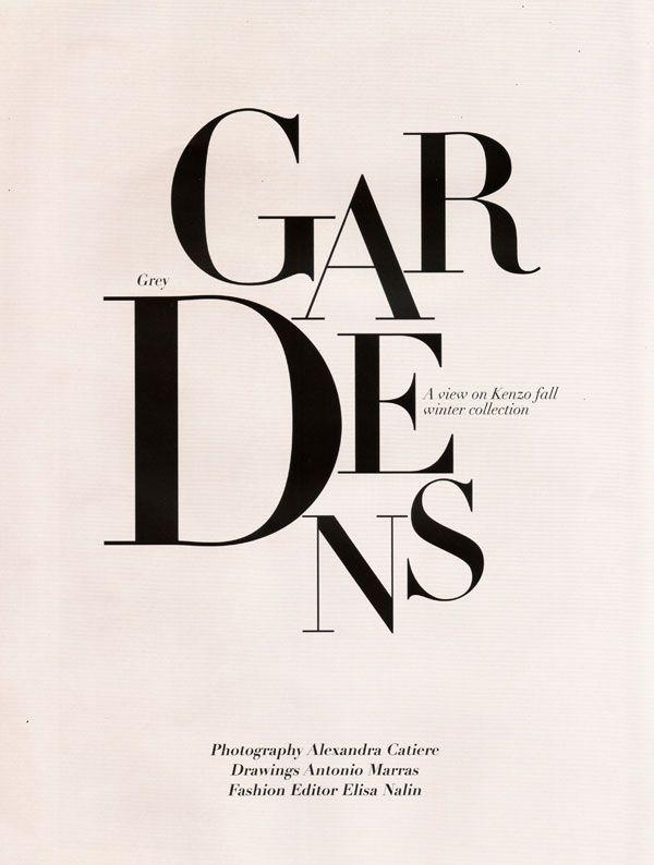 GARDENS. pretty serif type!