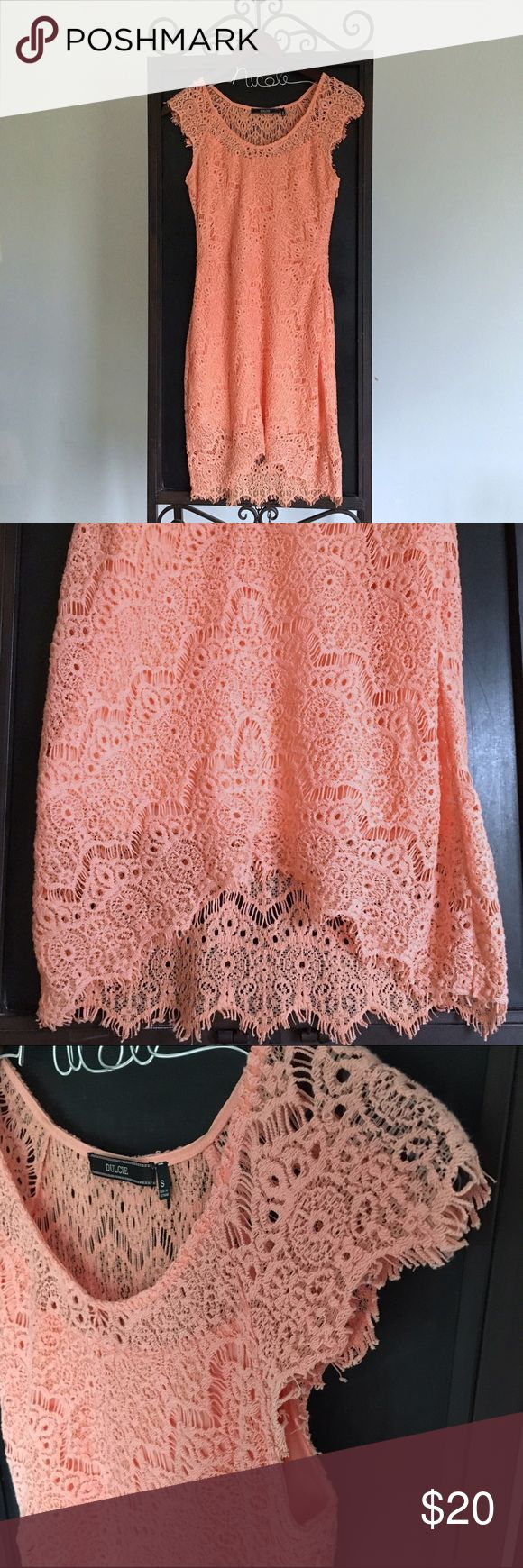 Peach Lace Dress Dulcie peach lace dress that would look so cute for spring time! Worn once! Dulcie  Dresses High Low