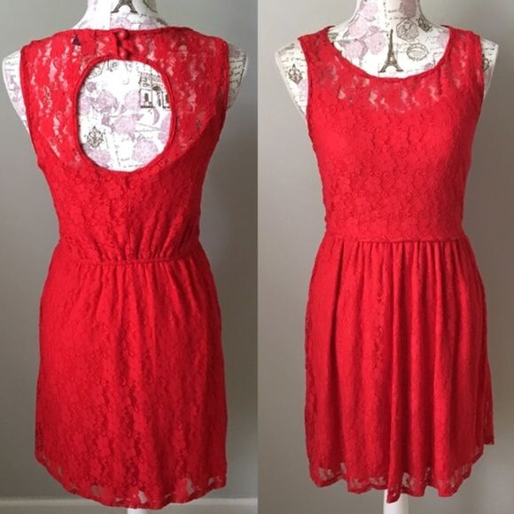☀SALE☀️️Red Lace Cocktail Dress Turn heads in this sleeveless stunning red lace cocktail dress. Featuring an illusion-neck, elastic natural waist and cut out back. Size S. BeBop Dresses Midi