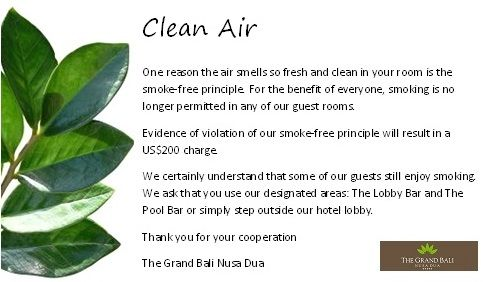 The Grand Bali Nusa Dua is committed to providing its guests and associates with a smoke-free environment. The efforts is the commitment of the property to being an environmentally friendly company.