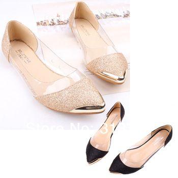 Drop Shipping Womens Glitter faísca Loafers Metal bico fino transparentes salto baixo sapatos baixos