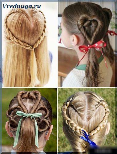 Сердечки из колосков и косичек. #little #girl #hairstyle Колоски и косы - прически для девочек
