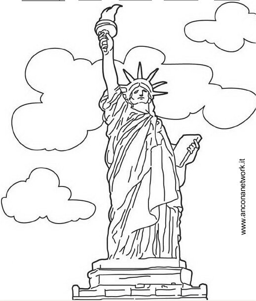 free statue of liberty coloring pages - Symbols America Coloring Pages