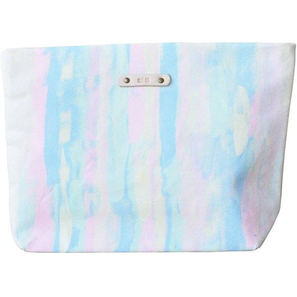 Soi 55 - Lembongan Hand-painted Hidden Zipper Pouch Pastel Rainbow ($39) ❤ liked on Polyvore featuring bags, leather zip pouch, leather evening bags, blue leather bag, zipper bag and zip pouch bags