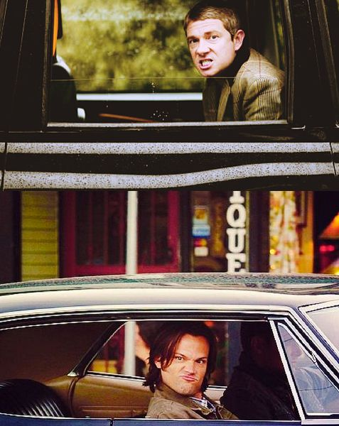 """""""John, do you know people can see you?"""" The detective asks, not looking up from his phone. The soilders scoffs, and makes another face at the man-child in the car next to them. He still can't quite believe that these are the lethal Winchester brothers. He sneers at the younger one from the backseat. Sam makes another face in return. <--- This is the best SuperLock I have ever seen"""
