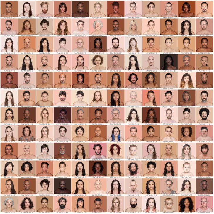 La piel humana y si diversidad se miden con Pantone Para encontrar el color exacto de la piel humana, la fotógrafa y creativa visual brasileña Angélica Dass decidió retratar a decenas de personas y encontrarles en la escala de Pantone.