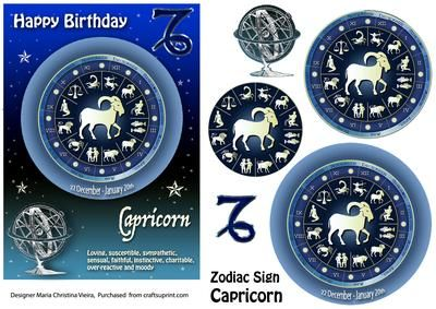 Zodiac Sign Capricorn Aqua  on Craftsuprint designed by Maria Christina Vieira  - 5x7 Zodiac sign Birthday card front with Pyramage layers . If you cant find a suitable Birthday card...you cant go wrong with a Zodiac sign card! - Now available for download!