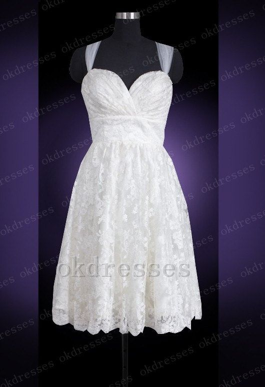 charming lace knee length wedding dressoff the shoulder white short wedding dress a