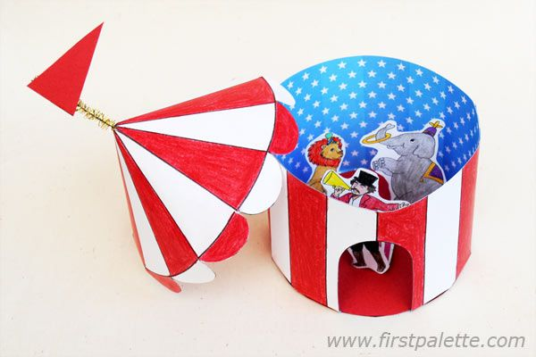 Red and white paper circus tent and other circus printables.