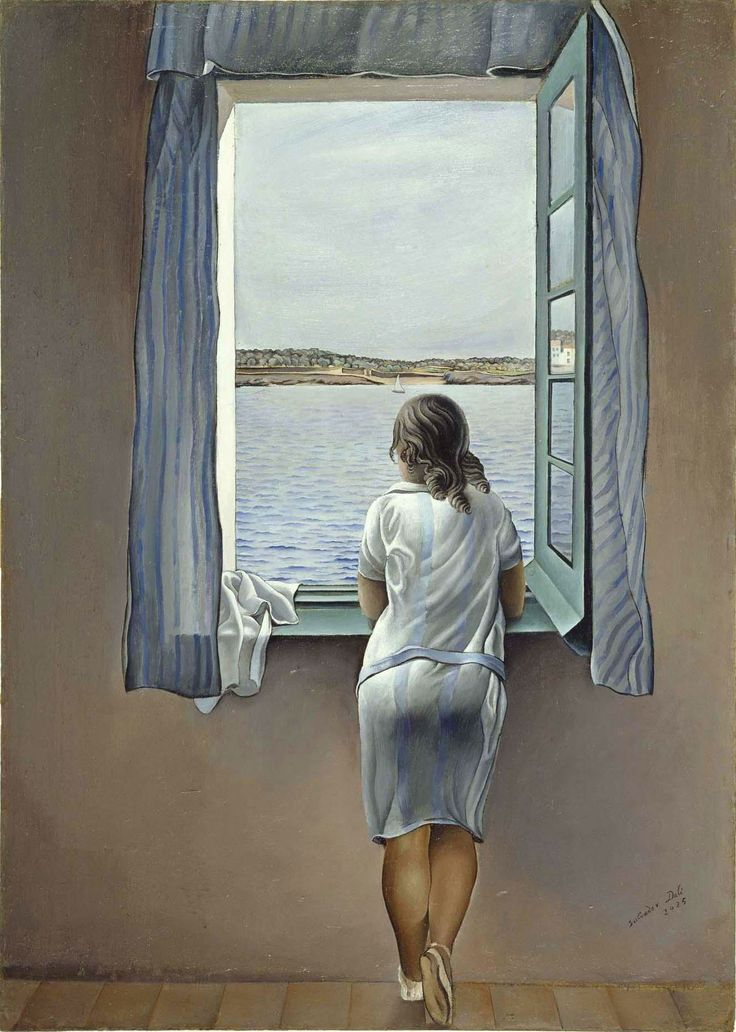 """Dipinto di Salvador Domènec Felip Jacint Dalí, Olio su Tela """"Noia alla finestra"""" 103 cm × 75 cm. realizzato nel 1925.  Museo Nacional Centro de Arte Reina Sofía, Madrid. La ragazza raffigurata è la sorella di Dalí, Aña Maria, che all'epoca aveva 17 anni. I colori predominanti sono sulle tonalità del blu: la ragazza, di spalle, è di fronte al panorama della riviera..-cocor-2.59am-sab 11-julio-2015"""