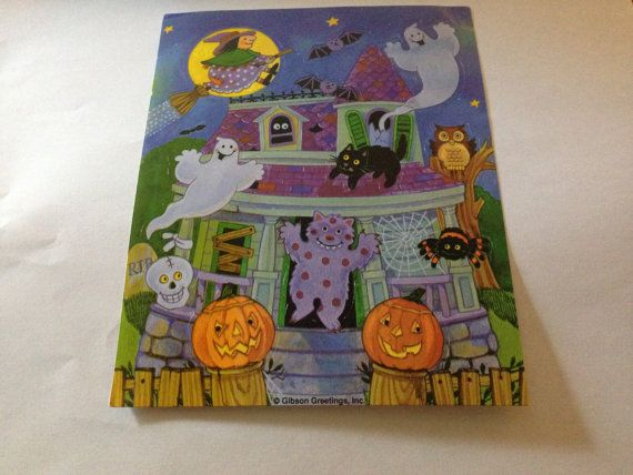 vintage 80s   Haunted House Halloween  Sticker Sheet