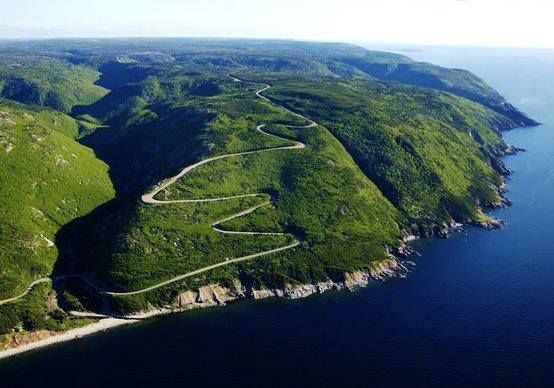 DREAM DRIVES: Cabot Trail, Cape Breton, Canada. The Cabot Trail stretches 298km along the rugged coastline of the Canadian province of Nova Scotia, providing spectacular views of the ocean. The route loops around the northern tip of the island passing through the Margaree River valley, Bras d'Or Lake and through Cape Breton Highlands National Park.