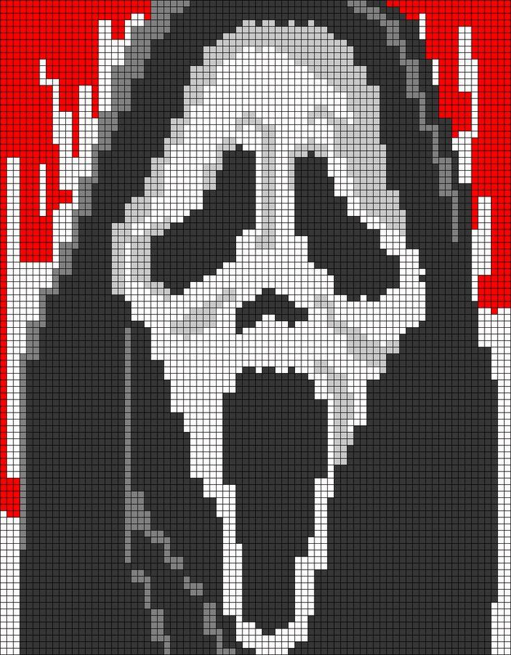 Scream Ghostface pixel pattern by qwazy2
