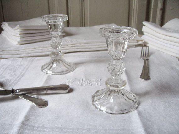 2 bougeoirs en verre pressé / Façon cristal / Ancien porte-bougie / Paire de chandelier rétro / Table classique /Bohème chic /Vintage France