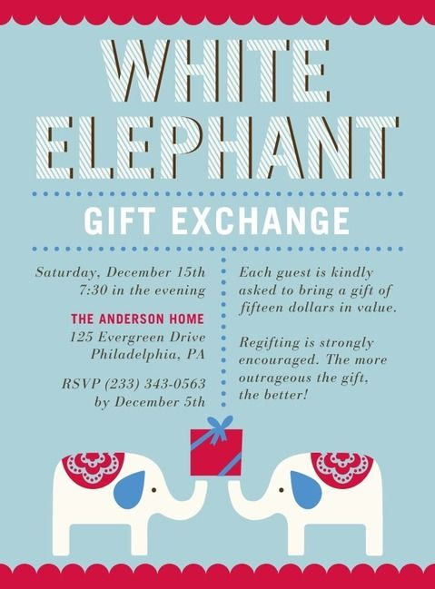 17 best white elephant party images on pinterest | christmas, Party invitations