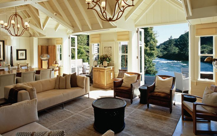 Key to the charm of the Huka Lodge is its emphasis on design—both inside the property and out. Renowned interior designer Virginia Fisher made her name on the transformation of this property into the airy and refined retreat it has become.