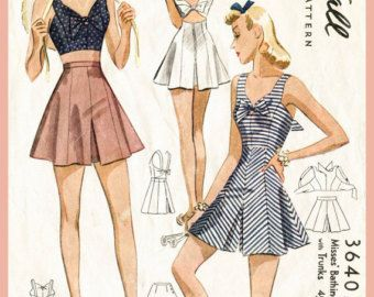 40s 1940s PICK YOUR SIZE bust 32 34 36 38 vintage women's sewing pattern crop top playsuit shorts beach romper English & French repro
