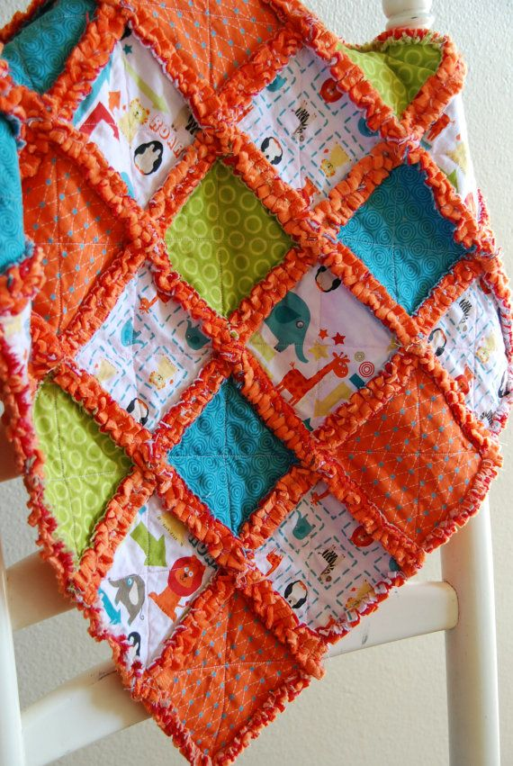 Riley Blake Alphabet Soup Boy Baby Rag Quilt Blanket with Orange Minky