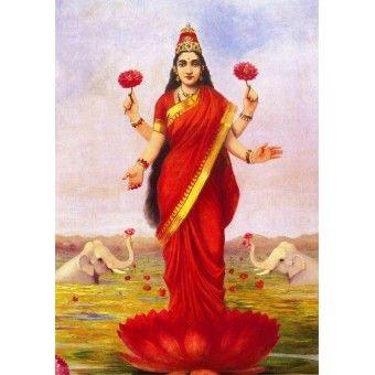 Goddess Lakshmi (Ravi Varma Print)