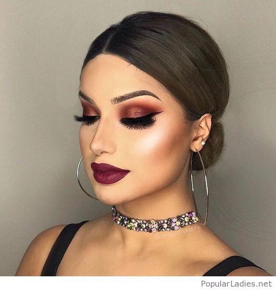 Amazing makeup and low bun