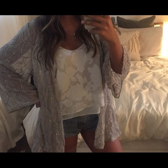 Beaded kimono Greyish/purple this is so lovely and only worn once  Cotton On Tops