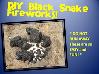 DIY Black Snake Fireworks with FREEBIE- great fun experiment with truly awesome results! can be made with household ingredients!!