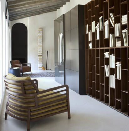 Lovely lacquered wooden contemporary bookcase BOOK by Pagnon u Pelha tre Ligne Roset France