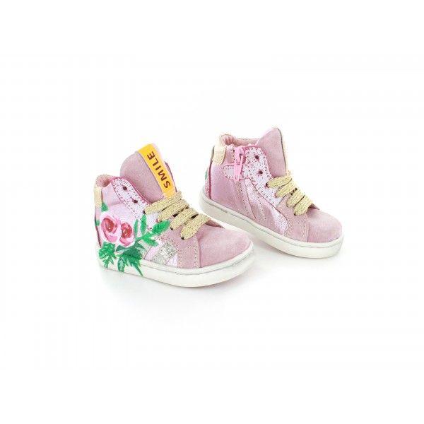 Shoesme Urban meidensneaker roze roosjes