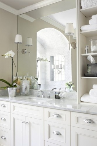 Cabinets, White Subway Tile, Bathroom