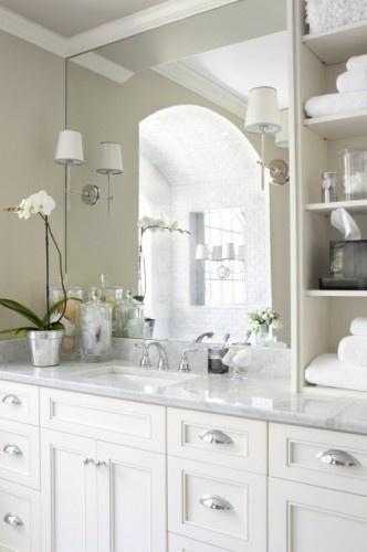 Bathroom inspiration...touches of silver with whiteBathroom Bathroom, Bathroom Design, Bathroom Jessicanaomi, Masterbath, Bathroom Ideas, White Bathroom, Jessicanaomi Bathroom, White Cabinets, Master Bathroom