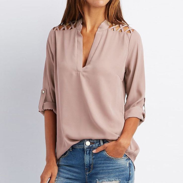 Sexy Hollow Out Chiffon Women Blouse Newest 2017 Spring Ladies V neck Long Sleeve Solid Shirts Casual Tops Blusas Plus Size