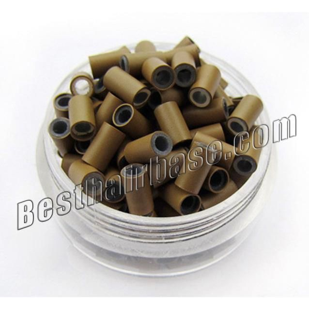 Light Brown Copper Silicone Tubes for Hair Extensions 1000pcs