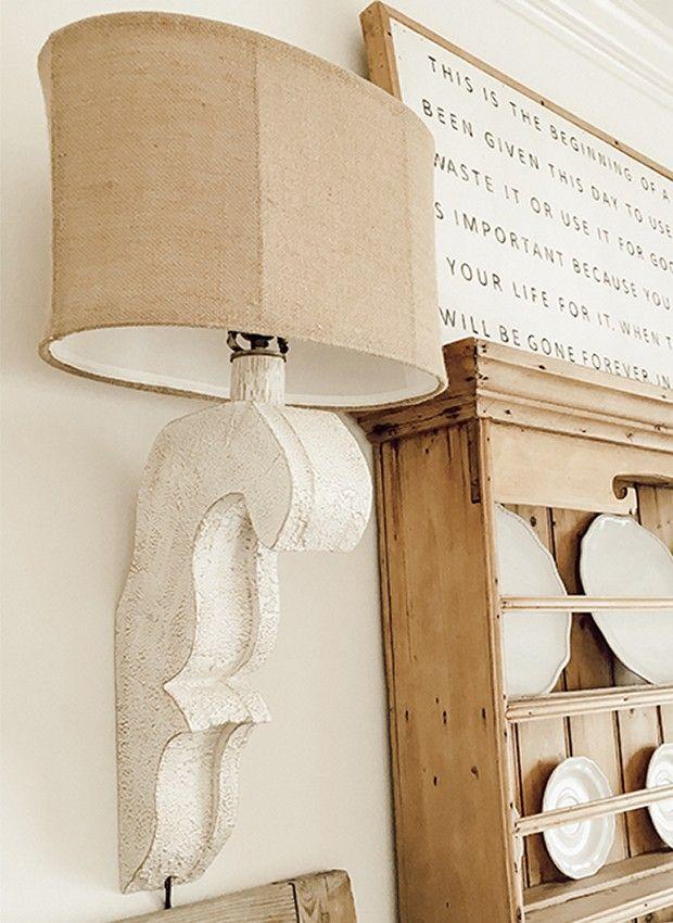 Pale Architectural Beauty Corbel Sconce Off White Wall Color White Corbel Lamp With Linen Burlap Shade Natl Hon Contemporary Home Decor Farmhouse Decor Decor