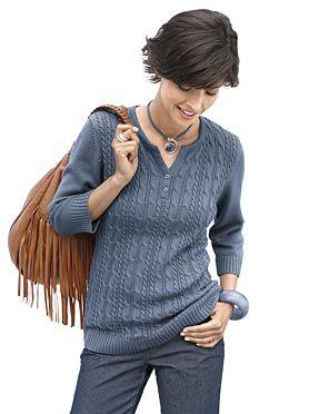 Пуловер, 882504, джинсово-синий