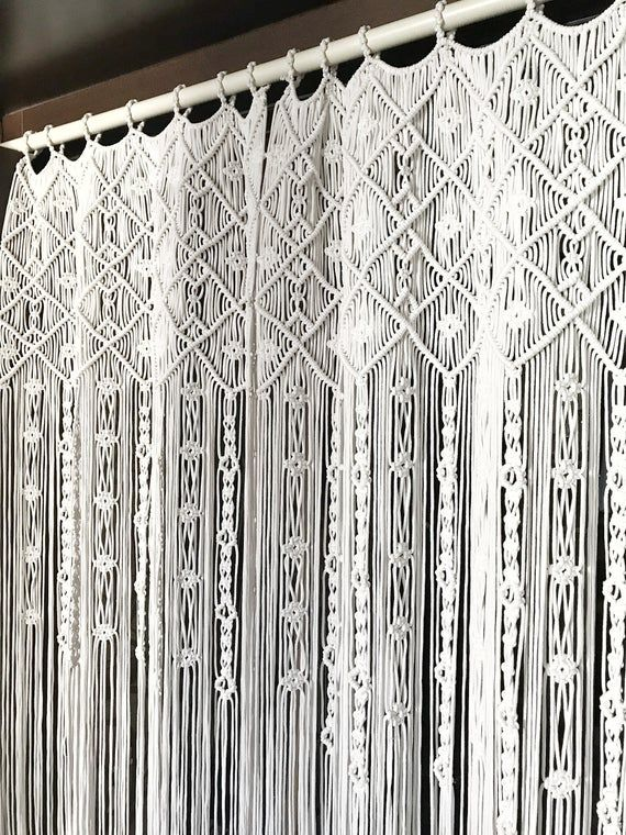 Macrame Curtain One Or Two Panels Curtain Macrame Room Divider