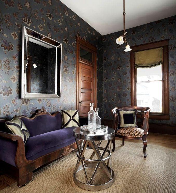 Purple Sofa Eclectic Living Room Ej Interiors