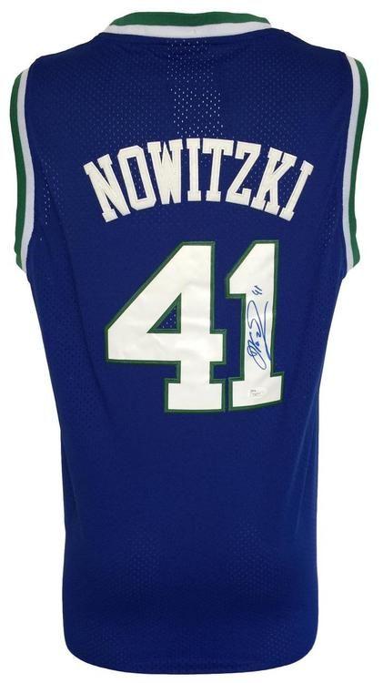 8b9d6be24 Dirk Nowitzki Signed Dallas Mavericks Blue Throwback Adidas Swingman Jersey  JSA