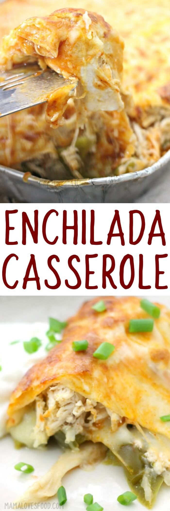 ENCHILADA CASSEROLE - easy chicken enchilada casserole #casserole #dinner #recipe #enchiladas
