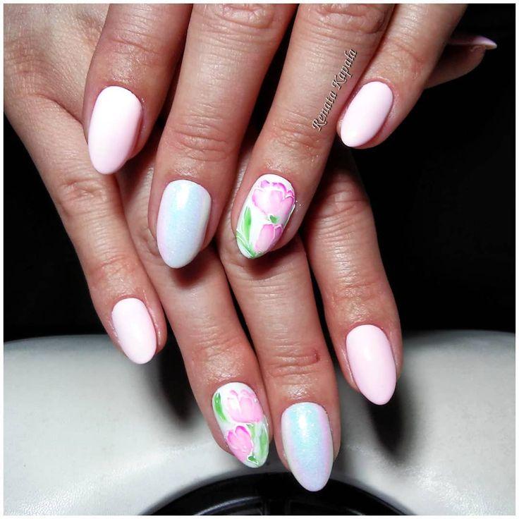 #pinknails #nails #nailart #gelpolish #flowers #syrenka #indigonails