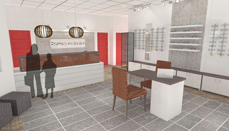 Rendering For Optometry Office By Hatch Interior Design