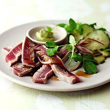Gebakken tonijn met komkommer en wasabi - 5PP