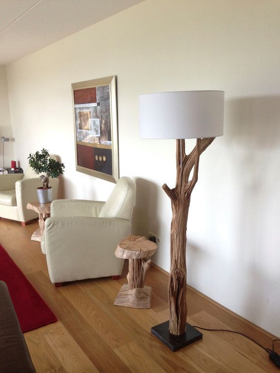 Floor Lamp manufacturing of weathered oak and wood por GBHNatureArt