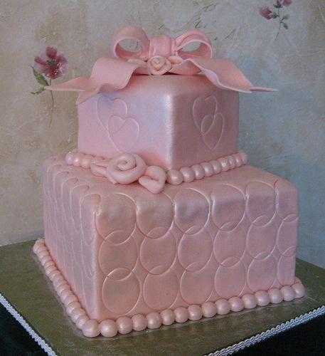 Delightful Pink Bridal Shower Cake
