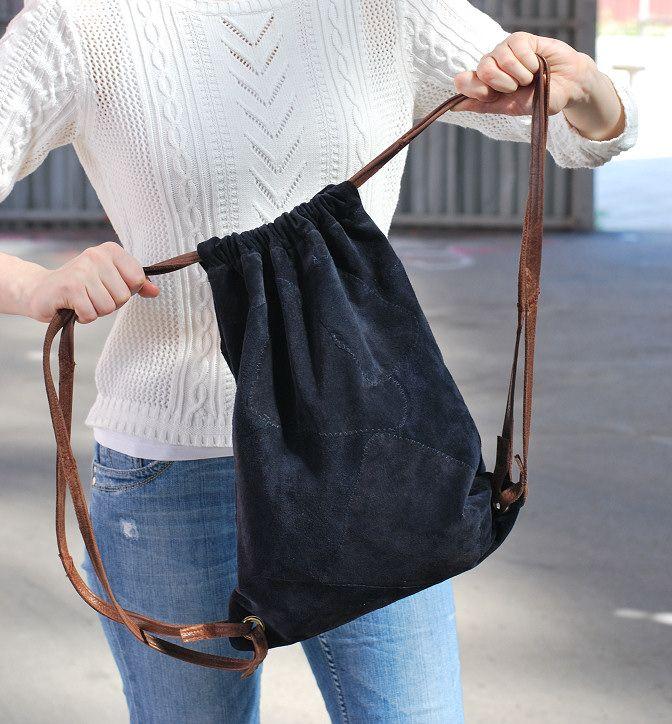 drawstring backpack natuurlijk ook heel mooi van leer