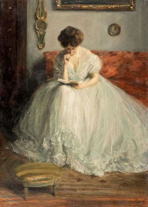 Portrait of Lucie Reading by Jacques-Emile Blanche (1861-1942)
