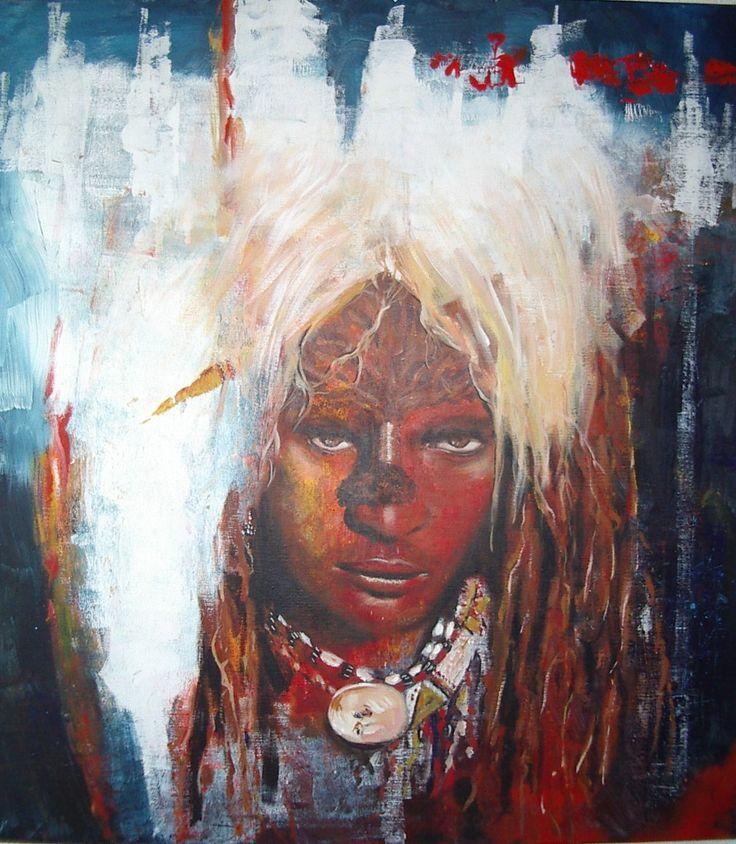 Marij Hendrickx. Masai krijger met leeuwenhaar. Afrikaanse stammen hebben een grote aantrekkingskracht op mij vanwege hun trots en kracht wat ze uitstralen.